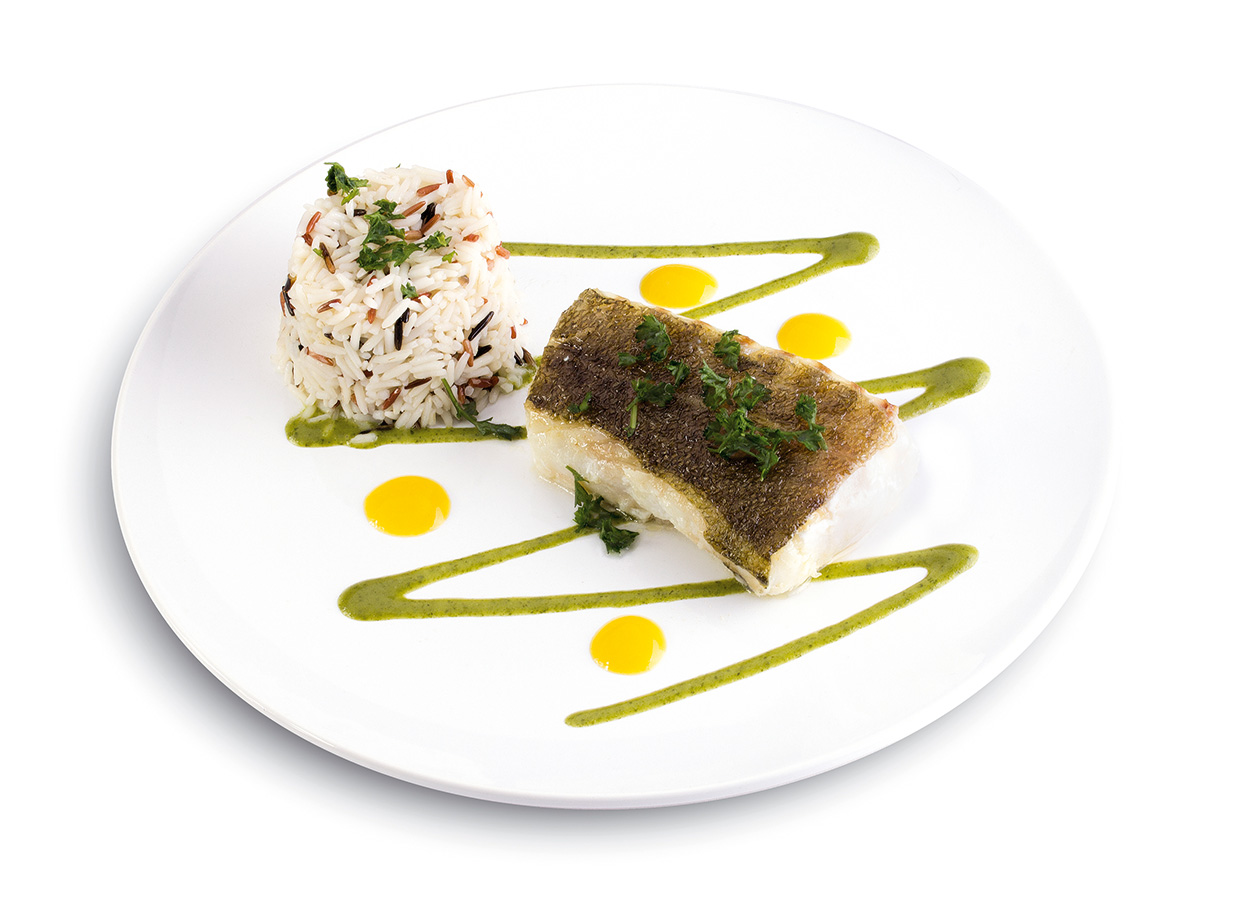 Cod with its duo of rice drizzled with Citrus Green and Fresh Yellow coulisn